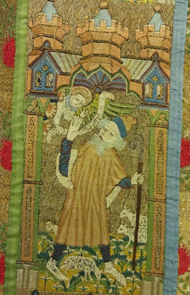 Orphrey from the Whalley Abbey Dalmatic showing the Angel appearing to Joachim