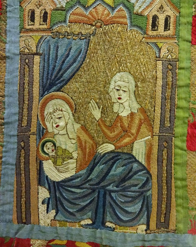 Orphrey from the Whalley Abbey Dalmatic showing the Birth of the Virgin