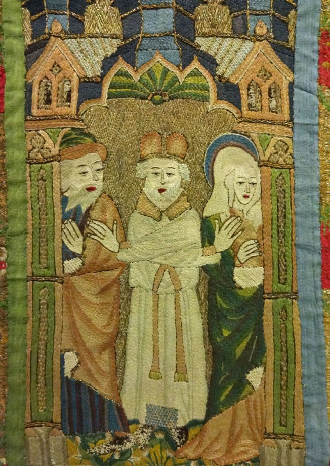 Orphrey from the Whalley Abbey Dalmatic showing Joachim's expulsion from the temple