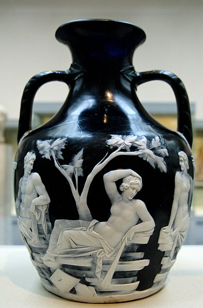 The Portland Vase in the British Museum -  a superb example of Roman flashed glass