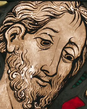 Boppard Christ Before Pilate panel - Detail of the Face of Jesus