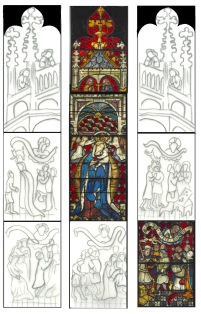 Layout of the Boppard - Ten commandments windows -  top section
