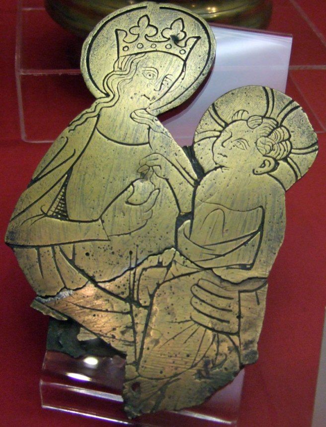 Burrell Collection - Monumental Brass Virgin and Child 15C English