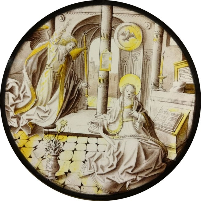 Annunciation roundel - South Netherlandish, dating to the early 16th century