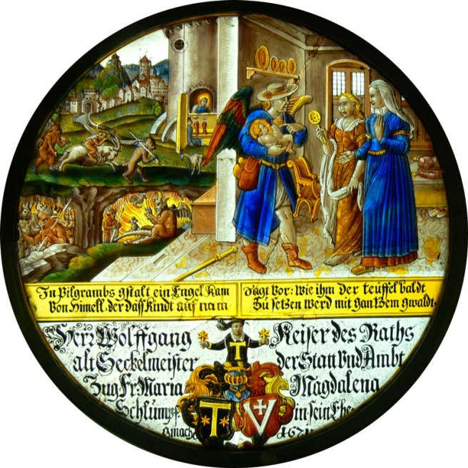 Glass roundel - Scenes from the Life of Saint Francis