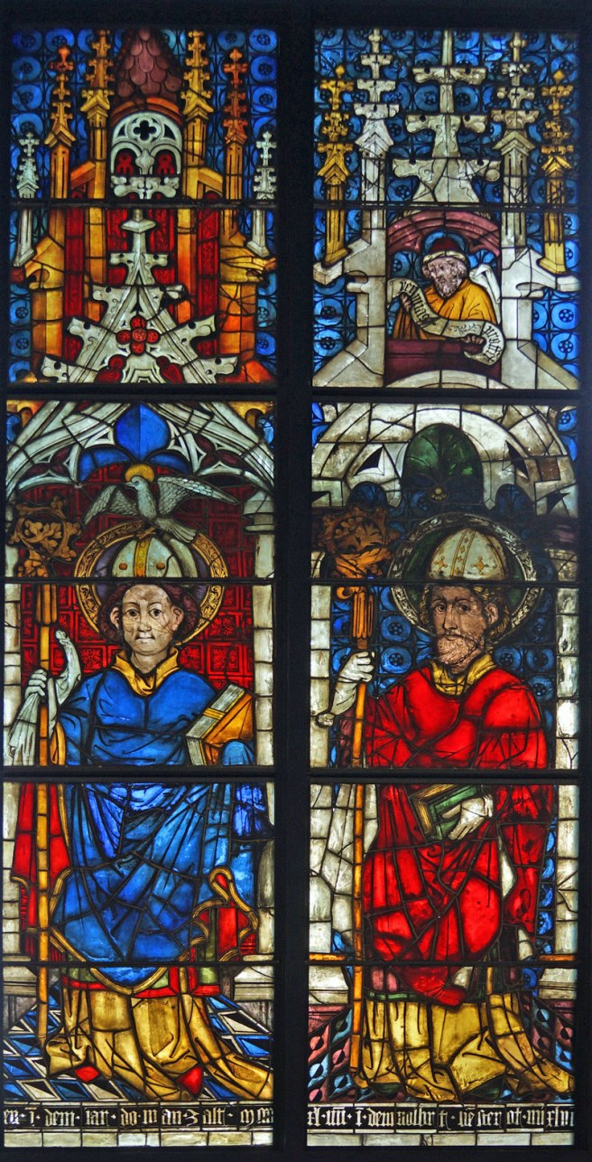 The two panels in the Burrell Collection from the Boppard Window with Standing Figures