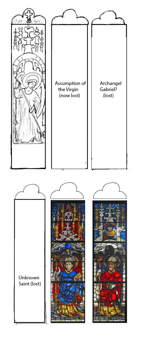 Boppard Pyrmont Window - Location of panels within the Standing Figures Window as proposed by Ruediger Becksmann (blank areas represent panels which have since been lost).