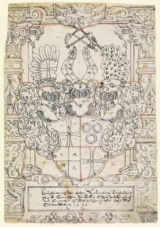 Cartoon made in 1592 for a Swiss heraldic panel