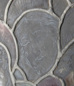 Detail of tinned lead in Boppard panel in the Burrell Collection.
