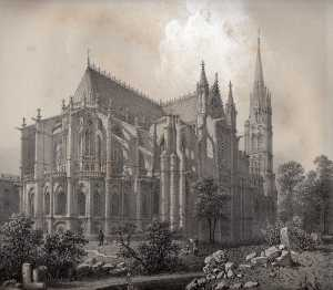 Felix Benoist -  Lithograph of the Abbey of St. Denis