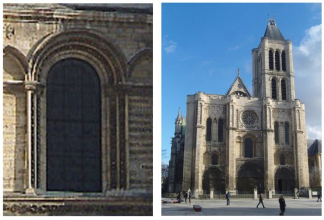West façade of Saint Denis and detail of the central window http://en.wikipedia.org/wiki/File:Saint-Denis_-_Basilique_-_Ext%C3%A9rieur_fa%C3%A7ade_ouest.JPG