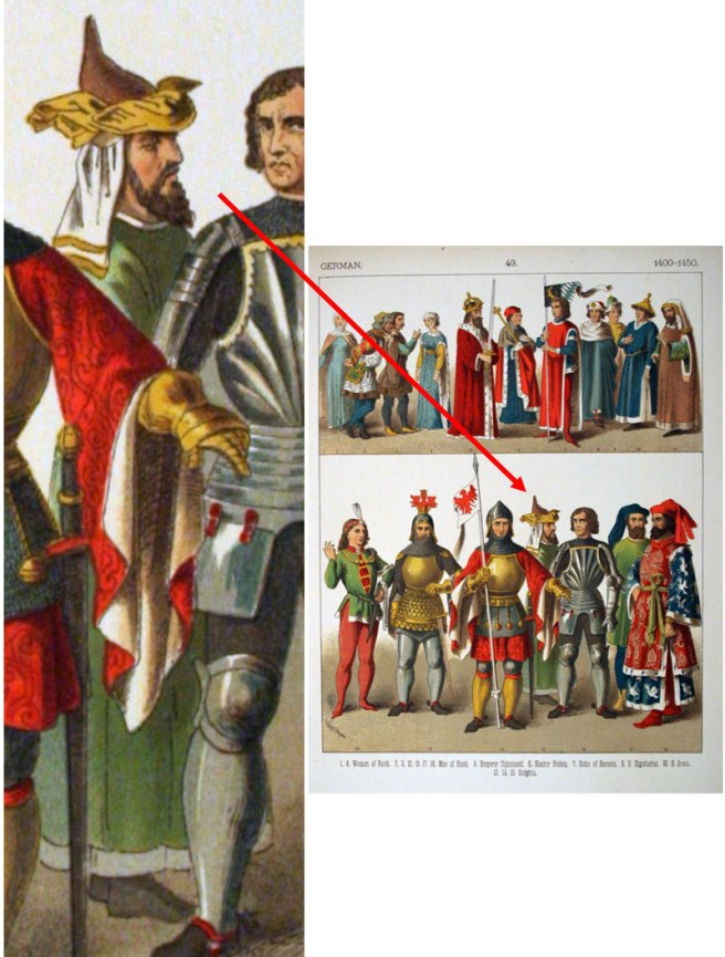 http://commons.wikimedia.org/wiki/File:1400-1450,_German._-_049_-_Costumes_of_All_Nations_(1882).JPG