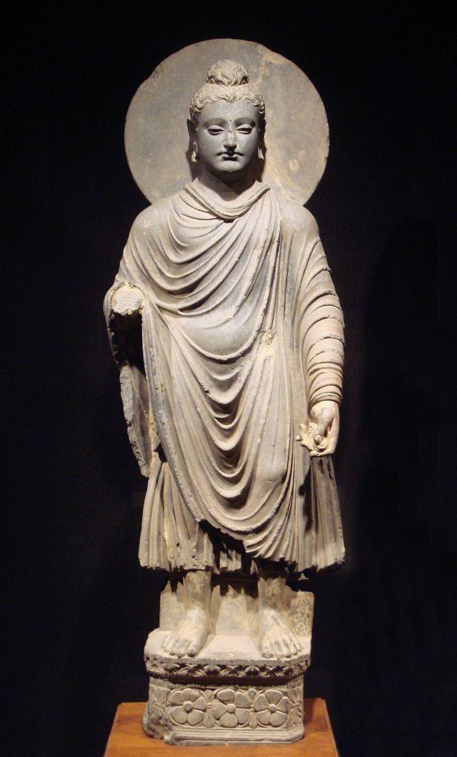 Standing Budda, with halo http://en.wikipedia.org/wiki/File:Gandhara_Buddha_(tnm).jpeg