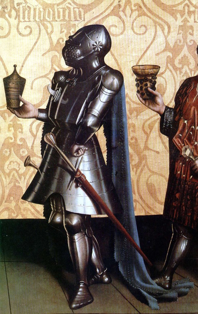 the detail from a German painting of 1435, by Konrad Witz http://en.wikipedia.org/wiki/File:Konrad_Witz_Sabobai_And_Benaiah_(1435)_fragment.jpg
