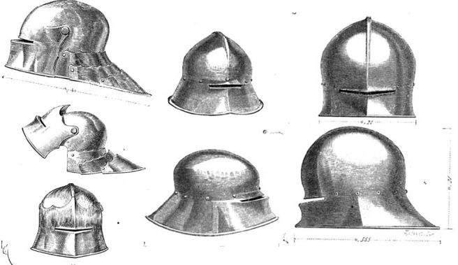 German sallets is shown in the image below  by Eugène Viollet-le-Duc