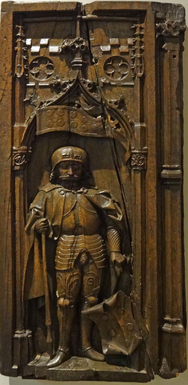 Burrell Collection German oak stall end with St. Quirinus - Lower Rhine late 15th-early 16th century