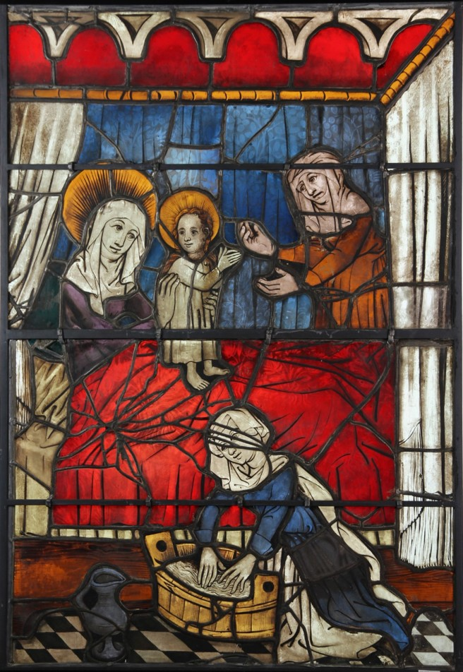 The Cleaned Birth of Mary Window