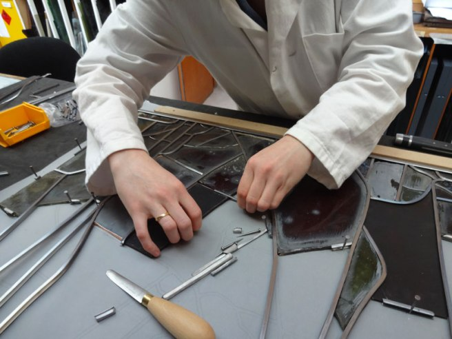 A panel during restoration being re-leaded