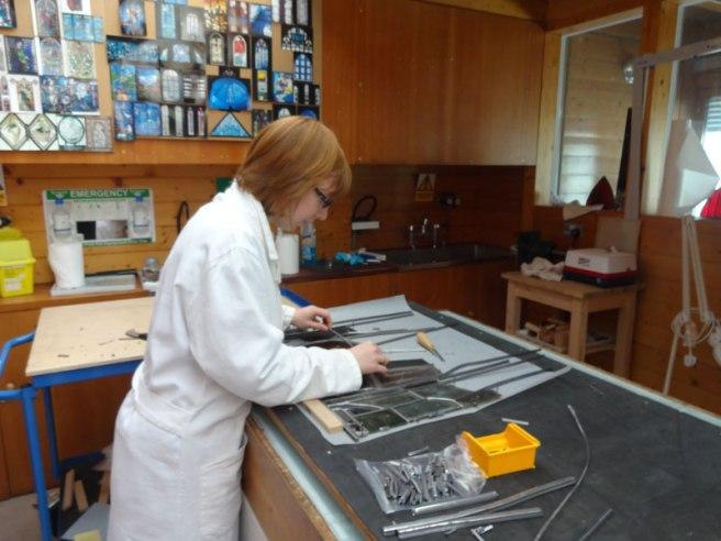 Megan assembling a panel