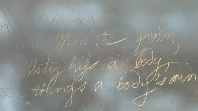 Robert Burn's verse written on a pane in the Globe Tavern, Dumfries