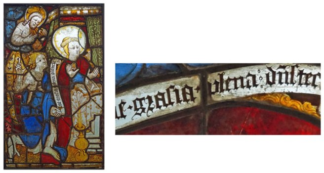 Annunciation panel and a detail of the writing.