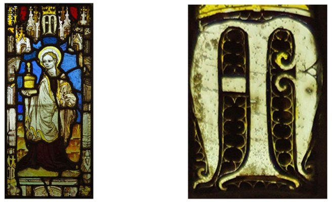 St Mary Magdalen panel and a detail of the writing.